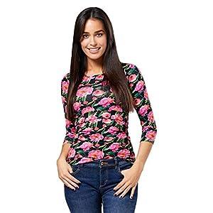 Happy-Mama-Mujer-Top-Camiseta-premam-Lactancia-Cuello-Redondo-Doble-Capa-988p-Negro-Flores-EU-4244-2XL