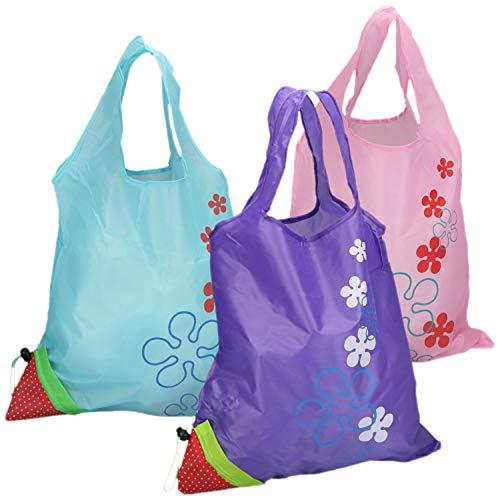 com-four® 3-teiliges Set aus faltbaren Erdbeer-Einkaufstaschen, Wiederverwendbare Einkaufstüte aus Nylon (03-teilig - pink. lila. blau) (Nylon Wiederverwendbare Einkaufstaschen)
