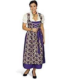 Dirndl Maxi Viola 3 Piece Traditional German Costume Dirndl Blouse Apron with Rose Blossoms for Oktoberfest