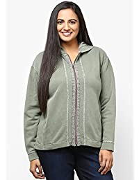 GRAIN Olive Green Color Regular fit Cotton Jackets for Women