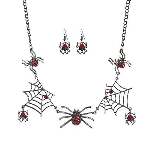 Qinlee Halloween Ohrringe Halskette Set Spider Web Halsreif Spinne Ohrhänger Mode Schmuck Bankette Festival Party Schmuck für Damen Mädchen (Rot)