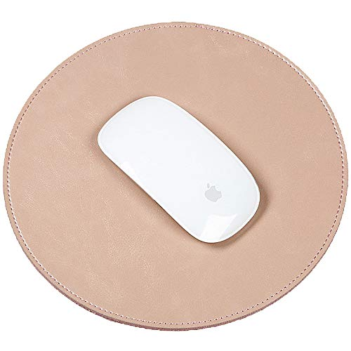 abronda Premium rund PU Leder Maus Pad Matte Glatte Oberfläche rutschfest rauscharmes Microsoft Maus für Apple Magic Maus, verkabelt/kabellos Bluetooth-Maus. rose gold