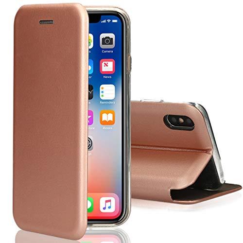 [kompatibel für iPhone X / XS / 10] Flip-Case Hülle [Deluxe Leder Case] Handyhülle mit Magnetverschluss und Standfunktion Cover Roségold 10 Slim Tasche Case