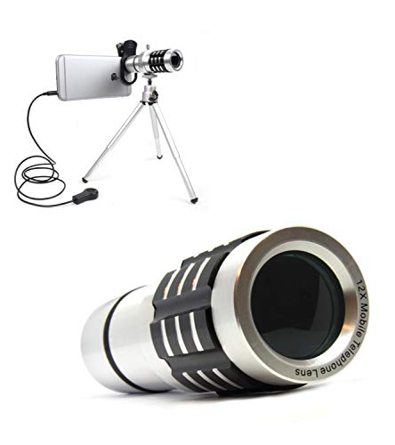 Objektiv aus Aluminium (2 in 1) - 12x - Set mit Handy Adapter, Stativ, Fernauslöser und Tasche - Universal für Android und Apple ()