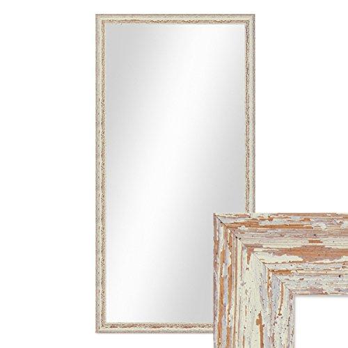 PHOTOLINI Wand-Spiegel 56x106 cm im Holzrahmen Weiss Shabby-Chic Vintage/Spiegelfläche 50x100 cm