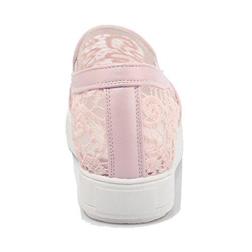 AllhqFashion Femme Couleur Unie Tire Rond Chaussures Légeres Rose