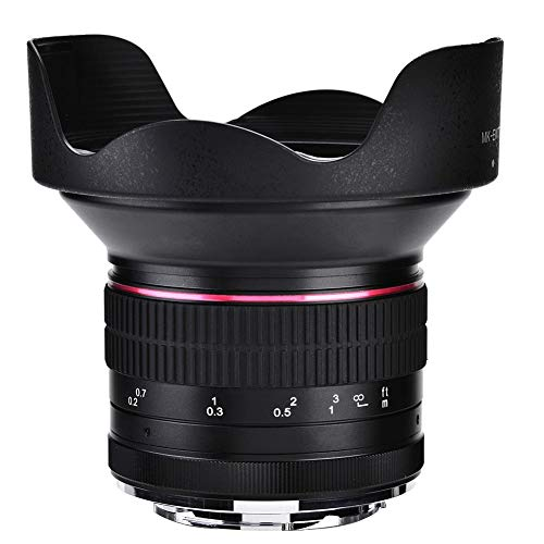 Elerose Obiettivo F2.8 da 12 mm Obiettivo di Messa a Fuoco Ultra grandangolare Obiettivo per Fotocamera mirrorless(Canon)