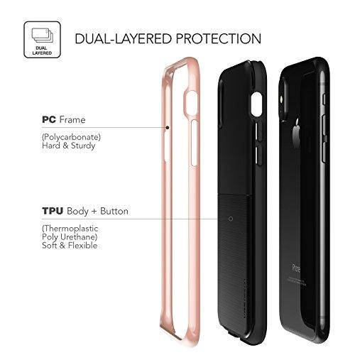 Cover iPhone X, VRS Design® Custodia [Bianca+Rosa] Ultra-Sottili Antiurto Doppia Custodia Protettiva [High Pro Shield] Morbido TPU con Paraurti PC per Apple iPhone X Edizione (2017) Oro Rosa
