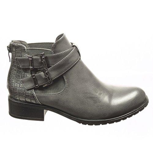 Angkorly - damen Schuhe Stiefeletten - Chelsea Boots - Schlangenhaut - String Tanga - Schleife Blockabsatz 3 CM Grau
