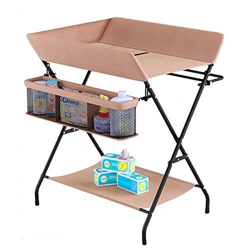 Wickeltisch Klappbarer Wickeltisch mit großem Stauraum, Windelstation-Kindergarten-Organizer für Kleinkinder (Color : Khaki, Size : Onesize)