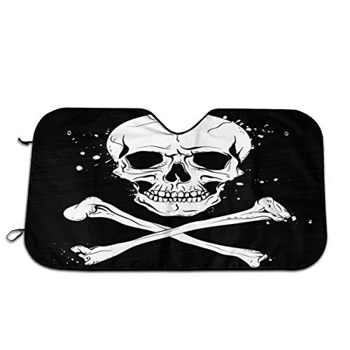 Piratenflagge mit Totenkopf und gekreuzten Knochen Sonnenschutz Hitzeisolierung Universal Windschutzscheibe dicker faltbarer Aluminium UV-Schutz Sonnenschutz für SUV LKW Wohnmobil 70 x 130 cm Knochen-gewebe
