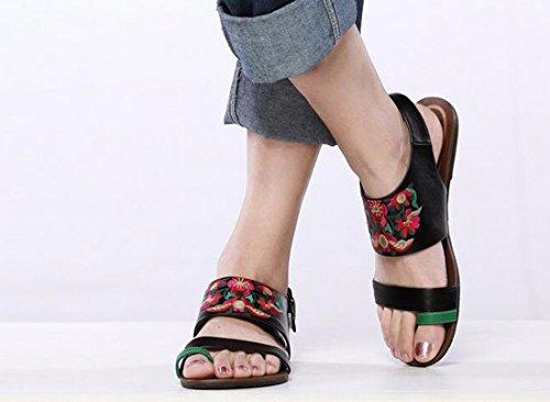 QIYUN.Z Mode Boho Ete Nouvelles Femmes Boho Ete A Bout Ouvert Tongs Chaussures Talons Plats Noir Avec Fleur Rouge