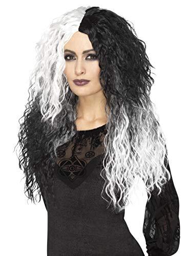 Halloweenia - Damen zweifarbige Krause schwarz weiß Langhaar Glam Perücke im böse Dame Evil Madame Style, perfekt für Halloween Karneval und Fasching, - Glam Skelett Kostüm