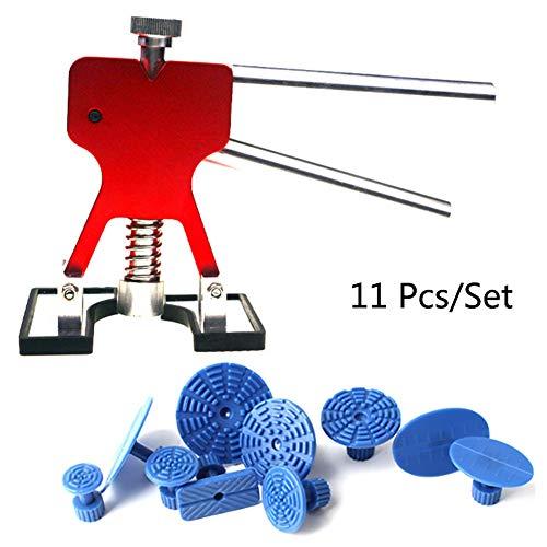 Lmhx riparare ammaccature auto kits 11 pezzi/set, colla stick puller corpo paintless riparazione pannello carrozzeria, rimozione ammaccature auto, estrattori di ammaccature dell'auto rosso