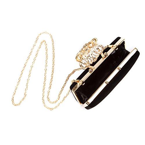 BAIGIO Borsetta con Tracolla da Donna Pochette con Diamante Elegante Borsetta da Sera Portafoglio Lungo, Nero Nero