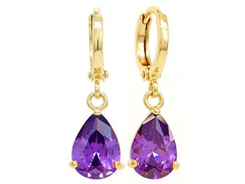 Boucles d'oreilles en or jaune 18K plaqué or faites à la main avec pierres précieuses améthyste violet clair avec boîte à bijoux noire