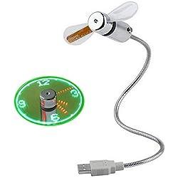 Mini Ventilateur d'horloge USB, col de Cygne Flexible avec Affichage LED en Temps réel pour PC, Ordinateur Portable, Ordinateur Portable, Bureau