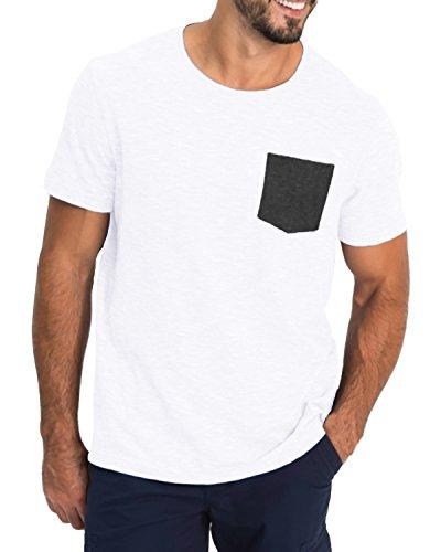 MODCHOK Herren T-Shirt Kurzarm Shirt Pockekt Tee Rundhals Ausschnitt Tops Regular Fit 1 Weiß(mit Pocket) Medium (Pocket T-shirts Für Männer)