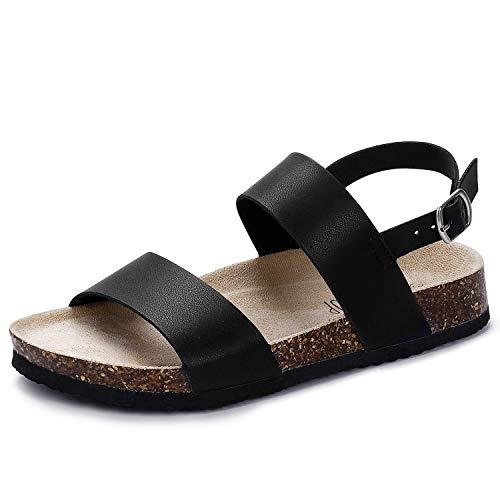 SANDALUP Doppelte offene Zehenband der Frauen verstellbare Slingback-Schnalle Flache Kork-Sandalen Schwarz 41 - Frauen Schwarze Sandalen Flache