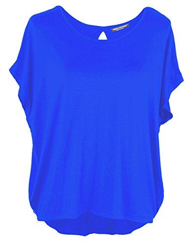 Emma & Giovanni - Basic Sommer T-Shirt/Oberteile Kurzarm - Damen (Elektrisches Blau, M/L)