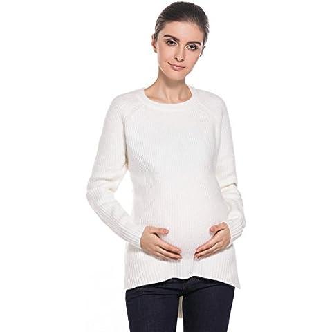 MODETREND Premaman -Maglieria Camicie di Maternità Casacche l'allattamento Abito Nursing Maglioni con Orlo Split Tinta unita Asimmetrico Maglietta Bluse Camicetta Pullover Maglia Tops