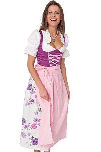 3tlg.-Set mit lila Dirndl und rosa Schürze Größe 40