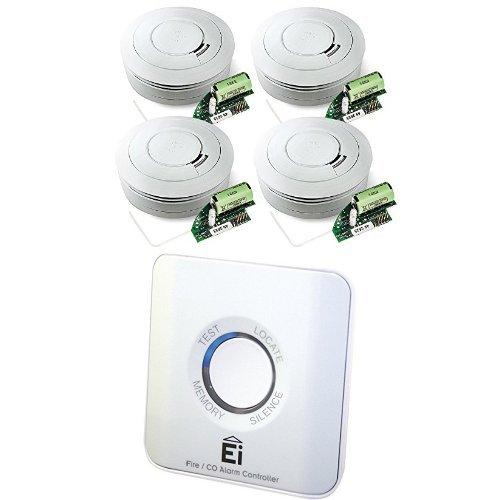 Ei Electronics Ei650RF 10-Jahres-Funkrauchwarnmelder, weiß, 4 Stück + Einknopf-Fernbedienung für...