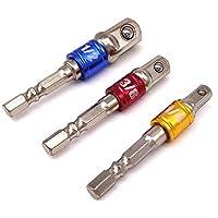 Tesan Sechskant Stecknussadapter,3 tlg Stecknuss Adapter Steckschlüssel Schraubenschlüssel Nuss Set,1/4'' 3/8'' 1/2''