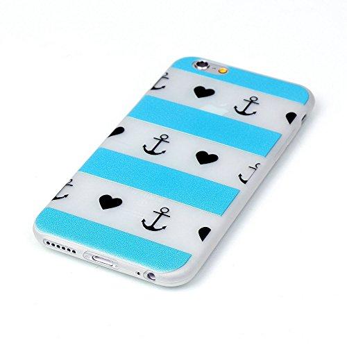 iPhone 6 Plus/6S Plus 5.5 Inch Luminous Hülle (Mit Frie HD Displayschutzfolie) Leuchtende Silikone Rückhülle Für iPhone 6 6s Plus 5.5 Zoll Inch Silikon Etui Handy Hülle Weiche Transparente Luminous TP Blaue und weiße Streifen