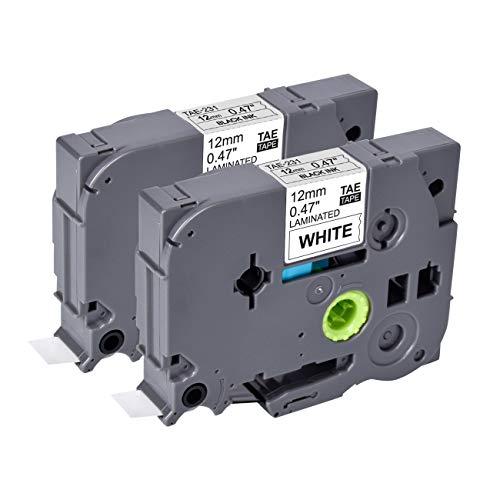 2x Schriftband TZE-231 für Brother 12mm x 8m Schwarz auf Weiß - Kompatibel zu Brother P-Touch 1000 1010 E105 E109