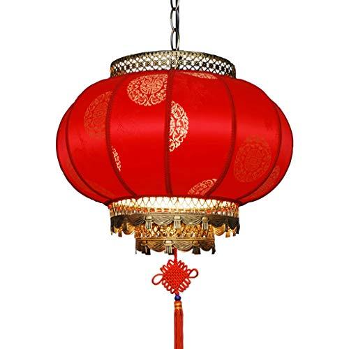 Rote Laterne Stoff (Qivor Chinesische Kronleuchter Schmiedeeisen Kronleuchter Stoff Dekorative Kronleuchter Laterne Modellierungslampe 30 * 28 cm Rot (Size : 40cm))