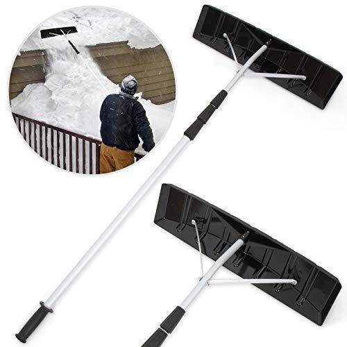 JAGO Schneeschieber geeignet für Dächer und Dachschrägen mit Teleskopstiel bis zu 4 m | Dach-Schneeschaufel Schneeräumer