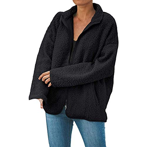 MOTOCO Übergroße Damenjacke mit Reißverschluss Fuzzy Wintermantel Taschen Baggy Outwear Lose Lange Strickjacken(XXL,Schwarz)