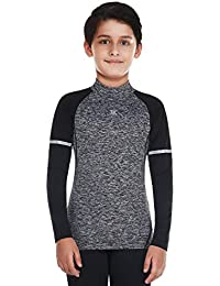 Bwiv Camiseta Térmica Interior Niños Camiseta Deporte Manga Larga de Compresión Ropa Interior Polar Niño Cuello Alto Secado Rápido Transpirable Invierno 3 Color S hasta 3XL