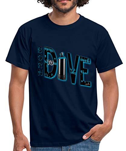 Spreadshirt Tauchen Born to Dive Männer T-Shirt, XL, Navy (Tauchen T-shirts Scuba)