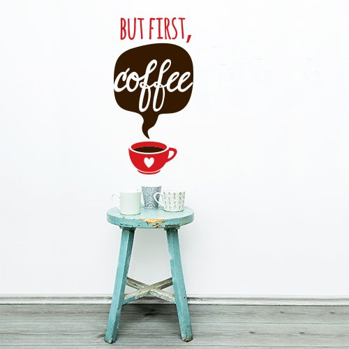 wall art 01278 Adesivo murale Aforisma - But First Coffee - Misure 31x60 cm - Marrone e Rosso - Decorazione Parete, Adesivi per Muro, Carta da Parati