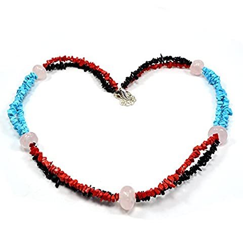 Silvestoo India Turquoise, Coral, Onyx & Rose Quartz Chips Necklace PG-110535