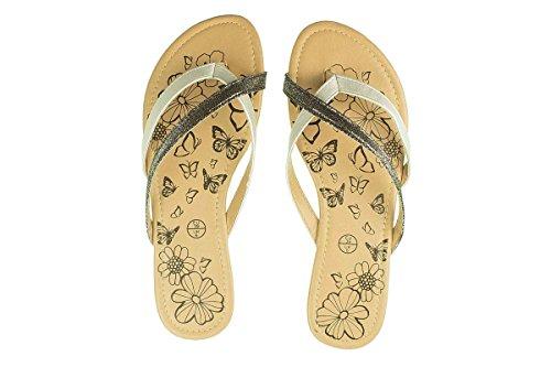 Esmara® Damen Pantoletten - Sommer Schuhe - Sandalen Silber/Schwarz