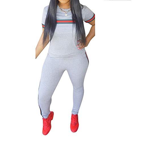 MINTLIMIT Damen Kurze Ärmel Trainingsanzug Streifen Jogginganzug Frauen Tracksuit Top T-Shirt Lange Hose Beiläufig Sport Grau M