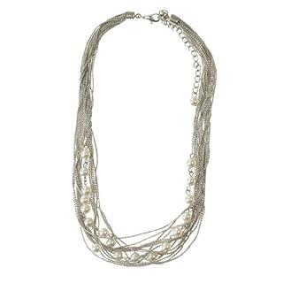 Portogarda Modische Halskette versilbert mit Perlen