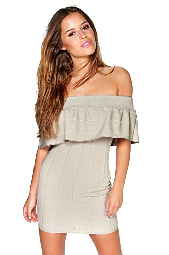 olive Hommes Petite Polly Bandeau Frill Bardot Bodycon Robe Olive