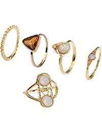 Lureme mujeres de oro antiguo turco diamante conjunto nudillo anillo de Midi conjunto de 5 (rg001842)