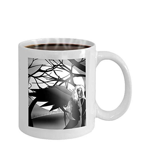 Coffee cup mug blue glowing angel wings metal shine shadow symbol vector illustration 11oz - Blue Mug Cup