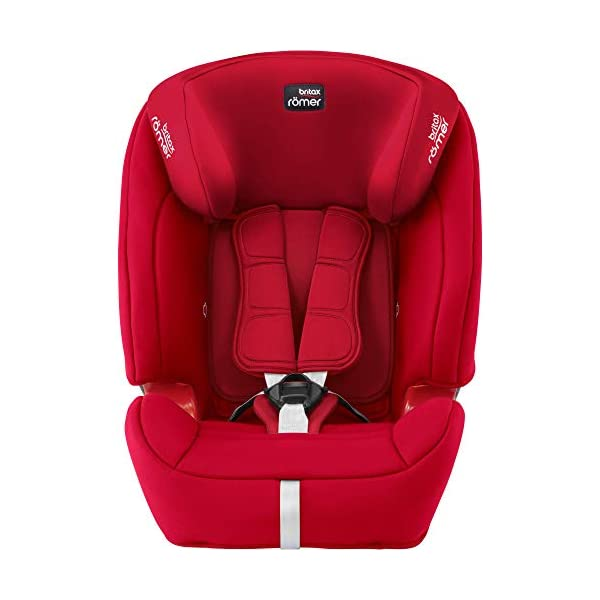 Britax Römer EVOLVA 1-2-3 SL SICT Group 1-2-3 (9-36kg) Car Seat - Fire Red  Installation, ISOFIX and a 3-point seat belt, or 3-point seat belt only Enhanced Side Impact Protection (SICT) minimises the force of an impact in a side collision CLICK & SAFE audible harness system for that extra reassurance when securing your child in the seat 3