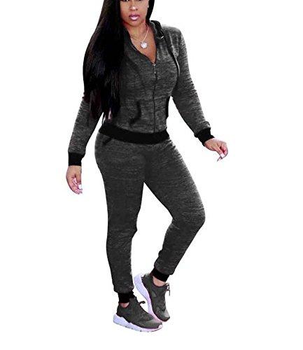 Womens Casual 2 pièces Hauts Outwear et pantalons Outfit Gris