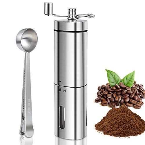 Hand-Kaffeemühle mit Keramik-Mahlwerk, OUTOPE Kaffeemühle manuell | Espresso-Mühle | Edelstahl | Stufenlose Mahlgradeinstellung für Aeropress, Filterkaffee, Espresso, French Press