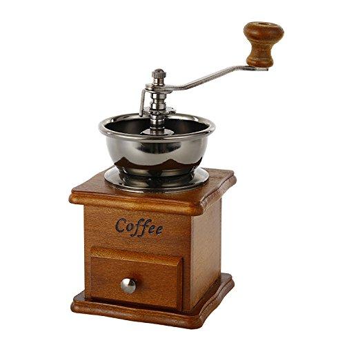 Jahrgang Handbuch Kaffeemühle Keramischer konischer Grat Tragbar Handkurbel Kaffeemaschine(Braun)