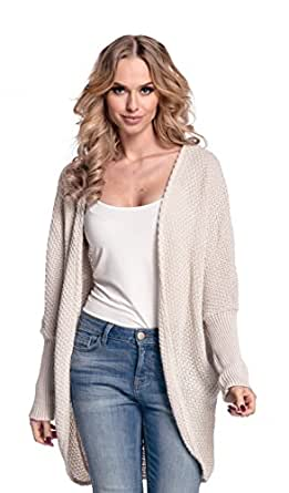 Glamour Empire. Women's Warm Buttonless Cardigan Chunky Textured Knit. 323 (Beige, ONE SIZE UK 10/12/14)