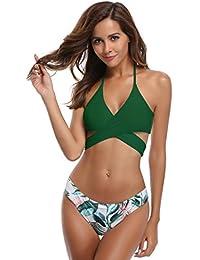 SHEKINI Femme Deux pièces Halter Bandage Push Up Brésilien Bikini Floral  Print Maillots de Bain Femme 2 pièces Triangle Swimwear… 397c024058f