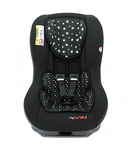 mycarsit Autositz, Gruppe 0+/1(von 0bis 18kg), Motiv Etoiles schwarzen
